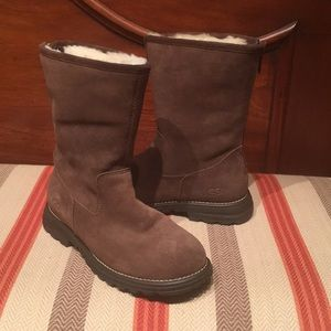 Ugg Womens Langley Chestnut Suede Sheepskin Boots